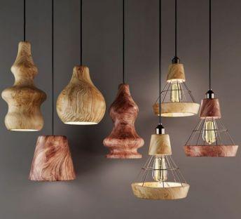原木葫芦吊灯