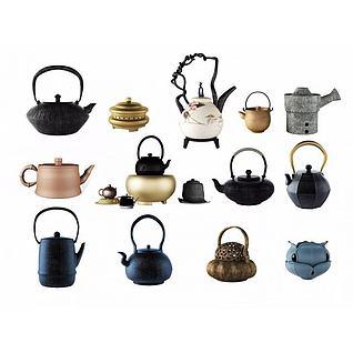 中式茶壶石炉组合3d模型