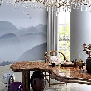 新中式茶桌鼓凳模型3d模型
