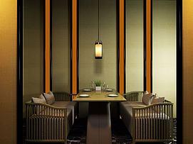 现代中式餐厅桌椅3d模型