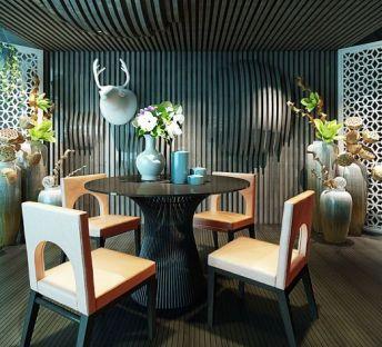 现代桌椅落地花瓶组合