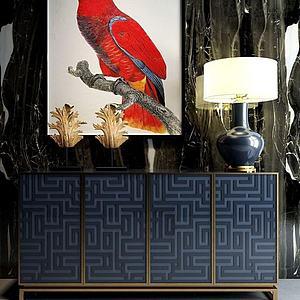 現代玄關柜雕塑飾品模型3d模型
