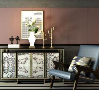 现代装饰柜休闲椅子组合