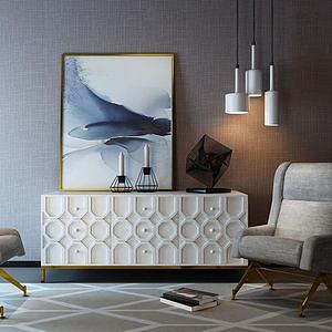 北歐邊柜單椅飾品組合模型3d模型