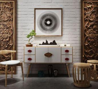 新中式玄关柜雕花背景墙