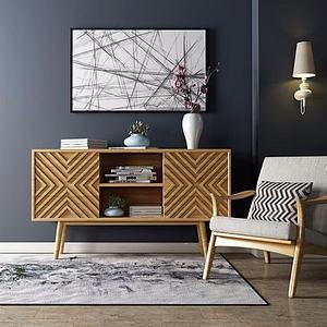 北歐時尚電視柜單椅組合模型3d模型