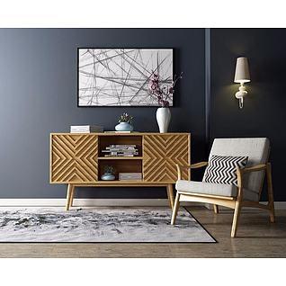 北欧时尚电视柜单椅组合3d模型3d模型