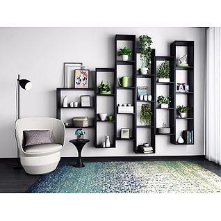 墙壁花架单人沙发组合3d模型