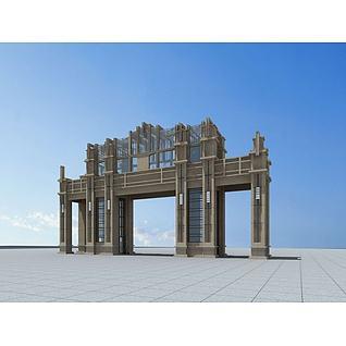 欧式小区大门3d模型