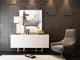 北欧时尚边柜沙发椅组合3d模型