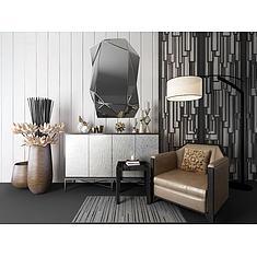 现代装饰柜单人沙发组合3D模型3d模型