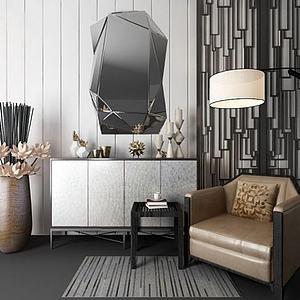 現代裝飾柜單人沙發組合模型3d模型
