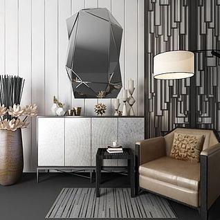 现代装饰柜单人沙发组合3d模型