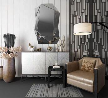 现代装饰柜单人沙发组合