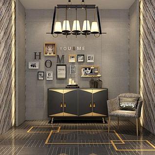 现代玄关柜单椅组合3d模型
