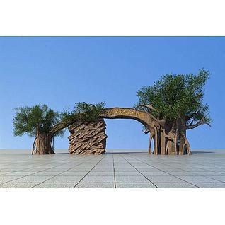 植物园大门3d模型3d模型