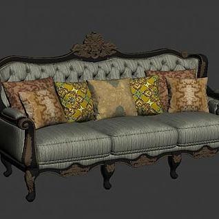 欧式三人沙发3d模型