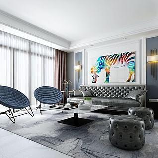 真皮沙发组合3d模型