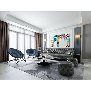 真皮沙发组合3d模型3d模型