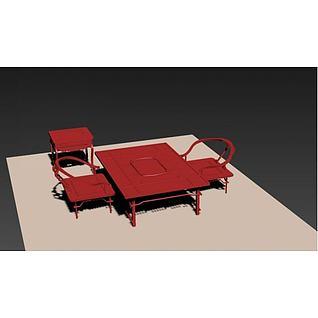 中式矮桌椅3d模型