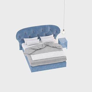 蓝色欧式床3d模型3d模型