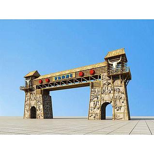 特色景区大门入口3d模型3d模型