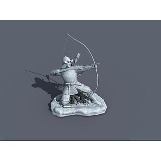 射箭雕塑3d模型3d模型