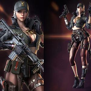 3d游戏角色美女模型