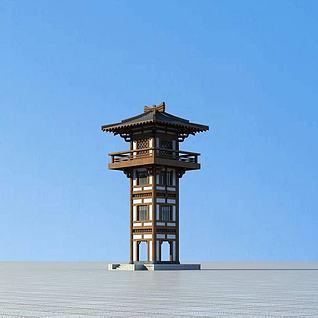 中式古建塔楼3d模型