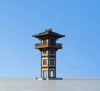 中式古建塔楼