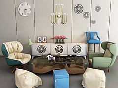 单人沙发椅茶几组合模型3d模型