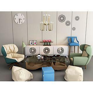 单人沙发椅茶几组合3d模型