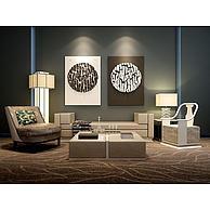 新中式沙发立体壁画组合3D模型3d模型