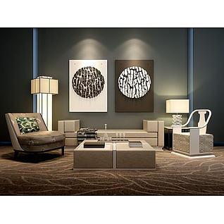 新中式沙发立体壁画组合3d模型