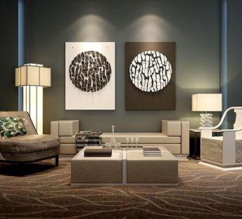 新中式沙发立体壁画组合