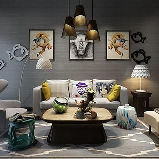 现代创意沙发墙饰品组合3d模型