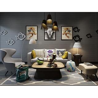 现代创意沙发墙饰品组合3d模型3d模型