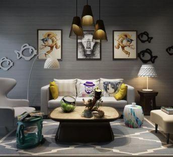 现代创意沙发墙饰品组合