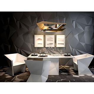 几何造型餐桌椅3d模型