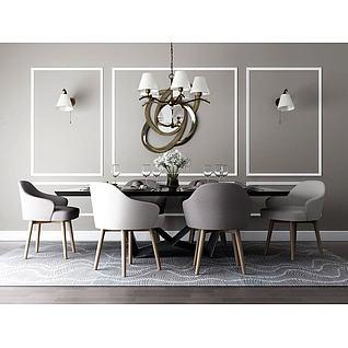 简欧吊灯餐桌椅组合3d模型