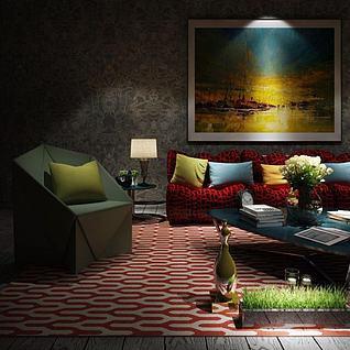 几何沙发茶几组合3d模型