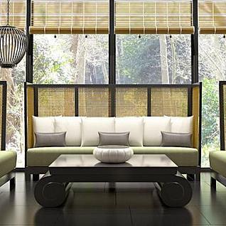 东方禅韵沙发茶几组合3d模型
