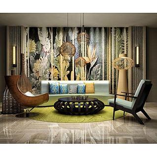 休闲沙发座椅组合3d模型