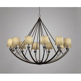 美式金属吊灯3d模型