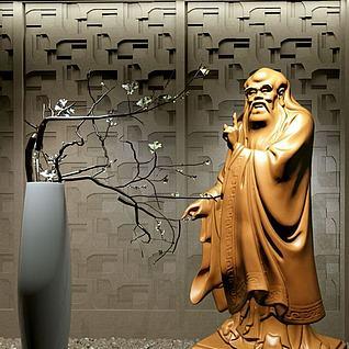 中式孔子雕塑3d模型