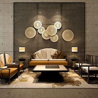 中式扇型沙发墙饰品3d模型