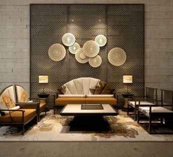 中式扇型沙发墙饰品
