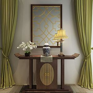 中式玄關柜飾品組合模型3d模型