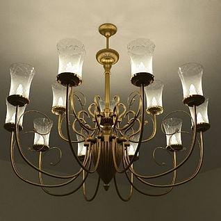 玻璃灯罩金属吊灯3d模型