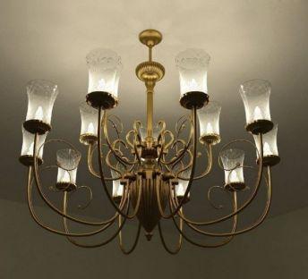 玻璃灯罩金属吊灯